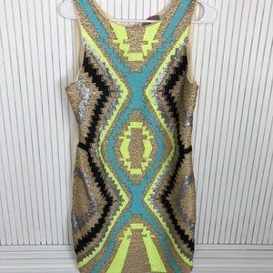 Beaded Tribal Print Shift Dress